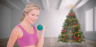 Composite image of happy fit woman. Happy fit woman against home with christmas tree Royalty Free Stock Photos