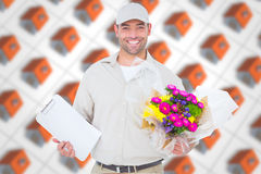 Composite image of happy flower delivery man holding clipboard Royalty Free Stock Image
