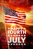 Composite image of happy fourth of july. Happy fourth of july against colourful fireworks exploding on black background Stock Images