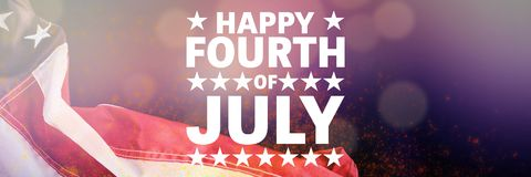 Composite image of happy fourth of july. Happy fourth of july against black background stock illustration