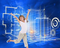 Composite image of happy girl jumping Royalty Free Stock Photos