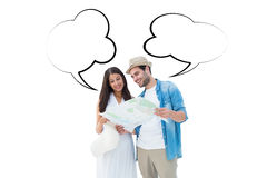 Composite image of happy hipster couple looking at map Royalty Free Stock Image