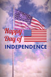 Composite image of happy independence day text with american flag Royalty Free Stock Images