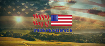 Composite image of happy independence day text with american flag. Happy independence day text with American flag against country scene Stock Images