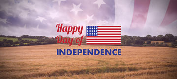 Composite image of happy independence day text with american flag. Happy independence day text with American flag against landscape of countryside Stock Image