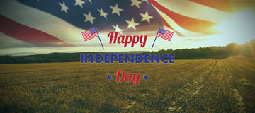 Composite image of happy independence day text with american flags Stock Photos