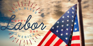 Composite image of composite image of happy labor day and god bless america text. Composite image of happy labor day and god bless America text against cloudy Royalty Free Stock Photography