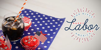 Composite image of composite image of happy labor day and god bless america text royalty free stock photography
