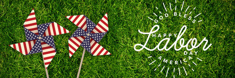 Composite image of composite image of happy labor day and god bless america text stock images