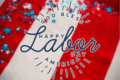 Composite image of composite image of happy labor day and god bless america text Royalty Free Stock Photos