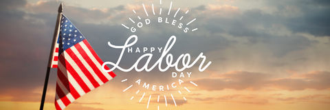 Composite image of composite image of happy labor day and god bless america text. Composite image of happy labor day and god bless America text against view of Stock Photo