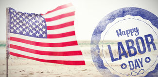 Composite image of composite image of happy labor day text on blue poster Stock Photography
