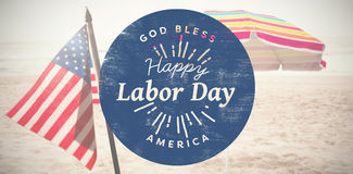 Composite image of happy labor day text on blue poster Stock Photo