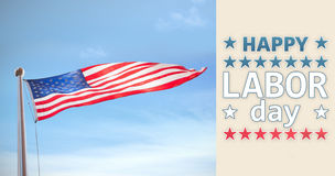 Composite image of happy labor day text with star shape Royalty Free Stock Photos