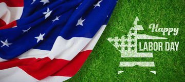 Composite image of composite image of happy labor day text and star shape american flag Stock Images