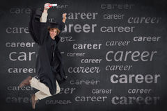 Composite image of happy male student in graduate robe jumping Stock Photography