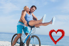 Composite image of happy man giving girlfriend a lift on his crossbar Royalty Free Stock Photos
