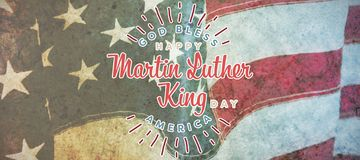 Composite image of happy martin luther king day, god bless america. Happy Martin Luther King day, god bless america against flag with stripes and stars royalty free stock photography