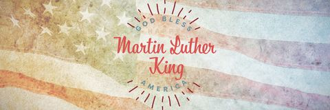 Composite image of happy martin luther king day, god bless america. Happy Martin Luther King day, god bless america against close-up of an flag stock photos