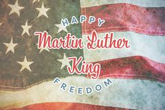 Composite image of happy martin luther king freedom. Happy Martin Luther King freedom against full frame of wrinkled american flag stock images