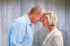 Composite image of happy mature couple facing each other Stock Photos