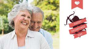 Composite image of happy mature couple laughing Stock Photos