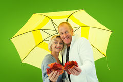 Composite image of happy mature couple showing autumn leaves under umbrella Royalty Free Stock Photography