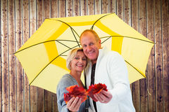 Composite image of happy mature couple showing autumn leaves under umbrella Stock Photos
