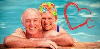 Composite image of happy mature couple in the swimming pool. Happy mature couple in the swimming pool against print royalty free stock image