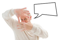 Composite image of happy mature man framing with hands Royalty Free Stock Photography