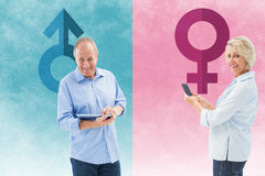 Composite image of happy mature woman sending a text Stock Photography