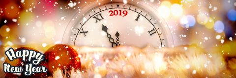 Composite image of happy new year. Happy new year against christmas yellow circle lights royalty free illustration