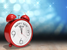 Composite image of happy new year in red alarm clock Stock Photos