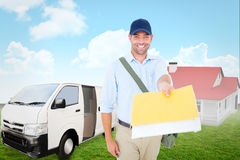 Composite image of happy postman delivering letter on white background Stock Photography