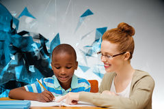 Composite image of happy pupil and teacher. Happy pupil and teacher against angular design Stock Photos