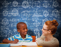 Composite image of happy pupil and teacher Stock Photos