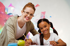 Composite image of happy pupil and teacher. Happy pupil and teacher against colourful abstract design Royalty Free Stock Photos