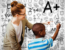 Composite image of happy pupil and teacher. Happy pupil and teacher against white background with vignette Stock Photos