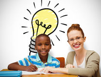 Composite image of happy pupil and teacher. Happy pupil and teacher against white background with vignette Stock Photography
