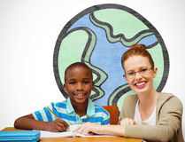 Composite image of happy pupil and teacher. Happy pupil and teacher against white background with vignette Royalty Free Stock Images