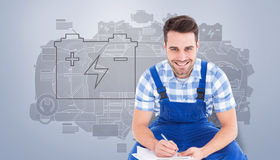 Composite image of happy repairman crouching while writing on clipboard Royalty Free Stock Photos
