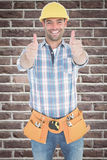 Composite image of happy repairman gesturing thumbs on white background Royalty Free Stock Images