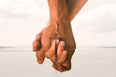 Composite image of happy senior couple holding hands royalty free illustration