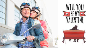 Composite image of happy senior couple riding a moped Royalty Free Stock Images