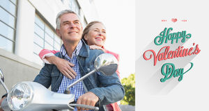 Composite image of happy senior couple riding a moped Royalty Free Stock Photos