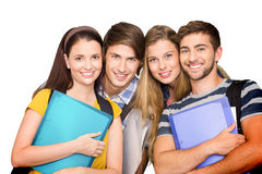 Composite image of happy students holding folders at college corridor Royalty Free Stock Image