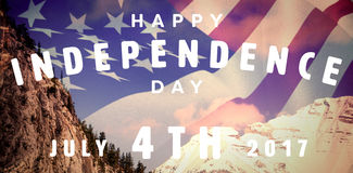 Composite image of happy 4th of july text on white background. Happy 4th of july text on white background against snow capped mountain against sky Stock Photography