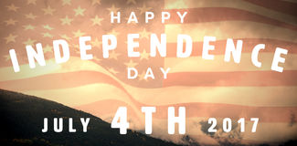 Composite image of happy 4th of july text on white background. Happy 4th of july text on white background against view of mountain and cloudy sky Stock Photography