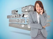 Composite image of happy thinking businesswoman Royalty Free Stock Photo