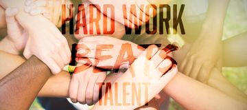 Composite image of hard work beats talent royalty free stock image
